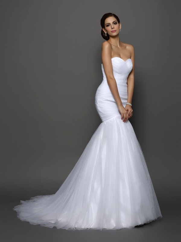 Mermaid Sweetheart Long Net Wedding Dress