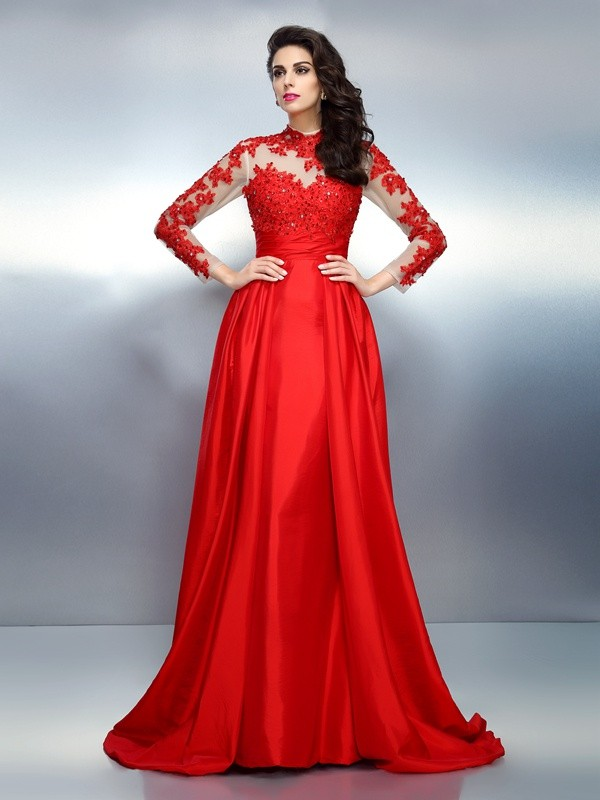 A-Line/Princess High Neck Long Sleeves Long Satin Dress