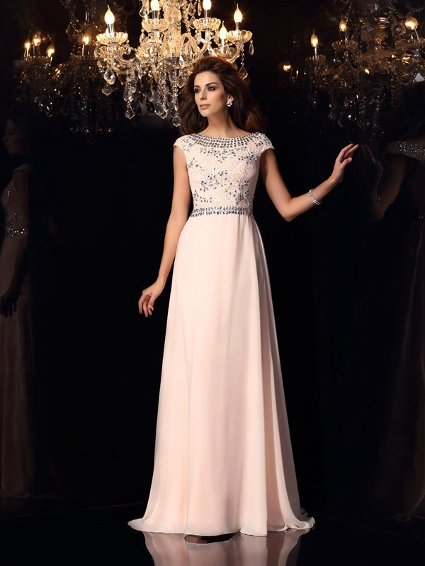 A-Line/Princess Bateau Short Sleeves Long Chiffon Dress
