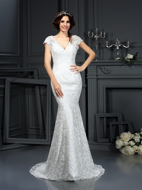 Mermaid V-neck Lace Long Lace Wedding Dress
