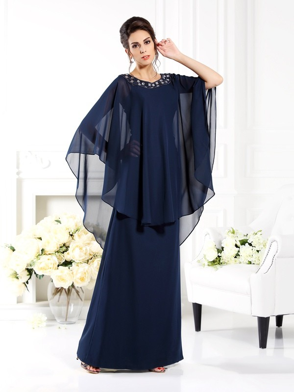 A-Line/Princess Scoop 3/4 Sleeves Long Chiffon Mother of the Bride Dress
