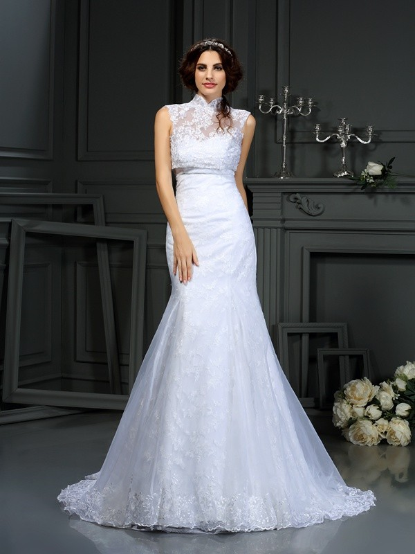 Mermaid Sweetheart Lace Long Satin Wedding Dress