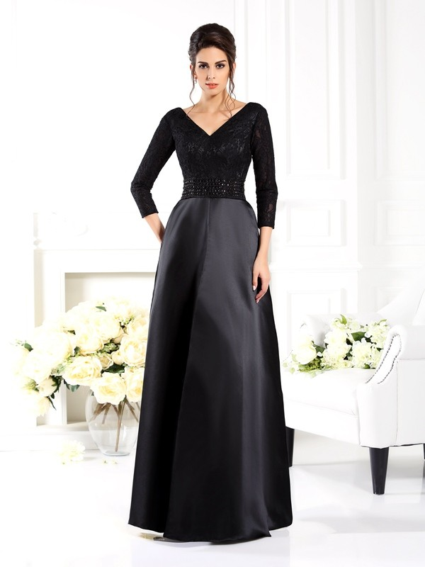 A-Line/Princess V-neck 3/4 Sleeves Long Satin Mother of the Bride Dress