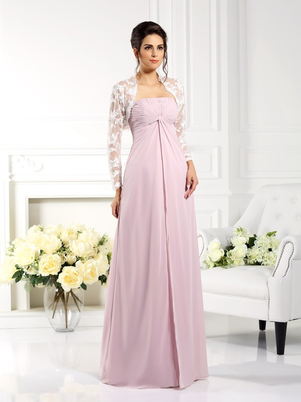 A-Line/Princess Strapless Lace Long Chiffon Mother of the Bride Dress