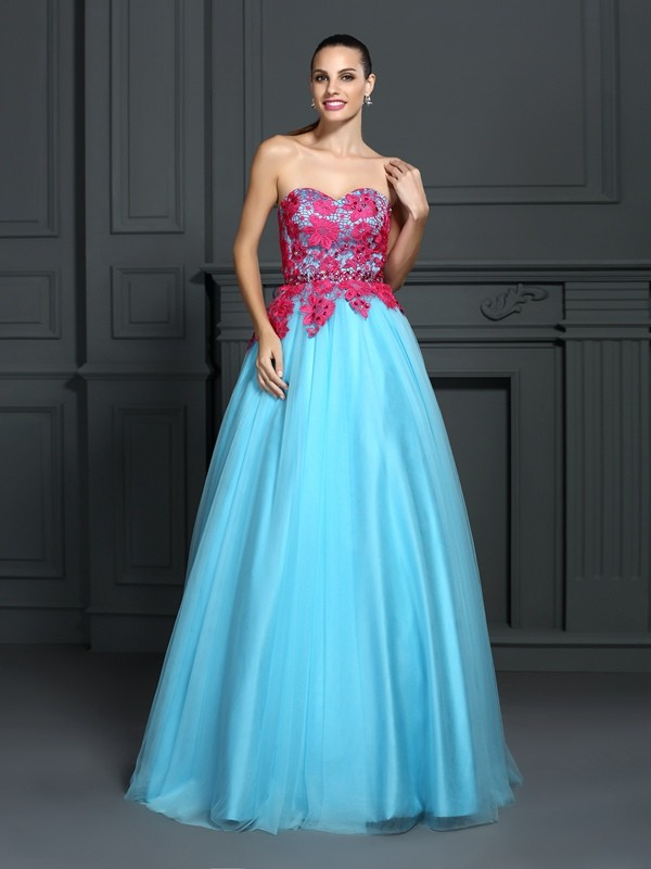 Ball Gown Sweetheart Lace Long Satin Quinceanera Dress