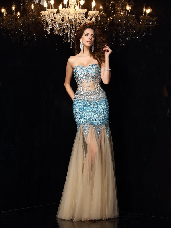 Sheath/Column Sweetheart Long Net Dress