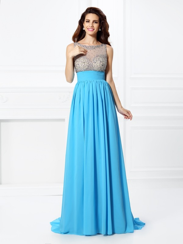 A-Line/Princess Bateau Long Chiffon Dress