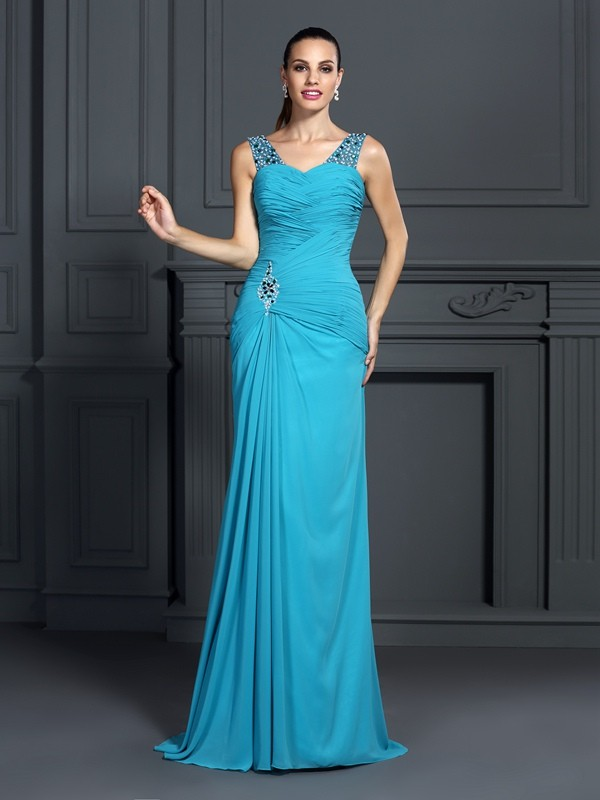 Mermaid Straps Long Chiffon Dress