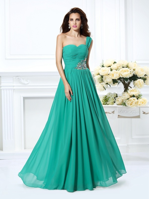 A-Line/Princess One-Shoulder Long Chiffon Dress