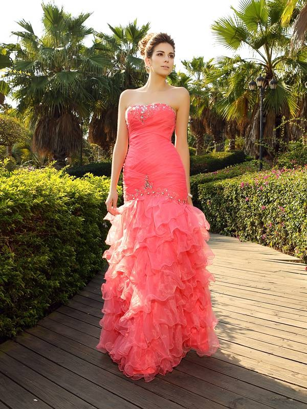 Mermaid Strapless Long Organza Dress