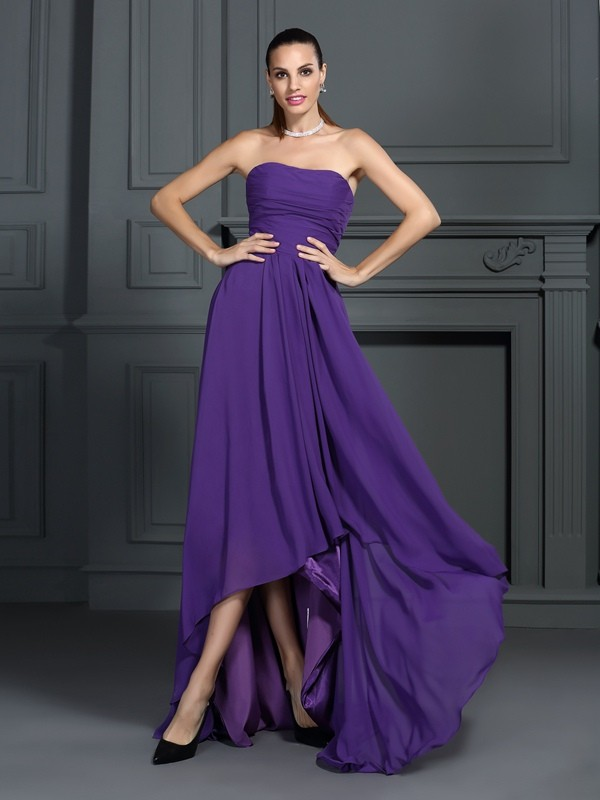 A-Line/Princess Strapless Asymmetrical Chiffon Cocktail Dress