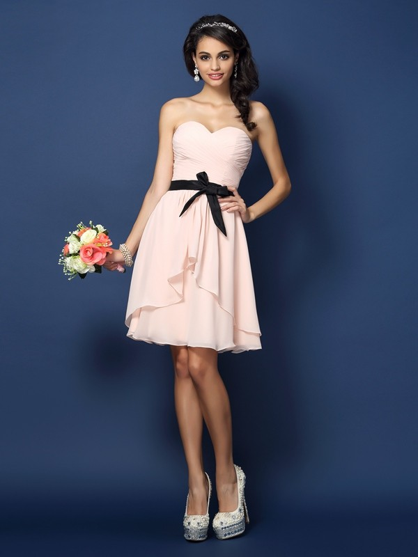 A-Line/Princess Sweetheart Short Chiffon Bridesmaid Dress
