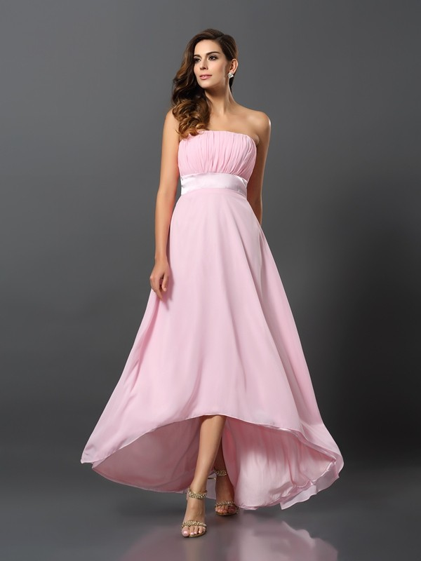 A-Line/Princess Strapless Asymmetrical Chiffon Bridesmaid Dress