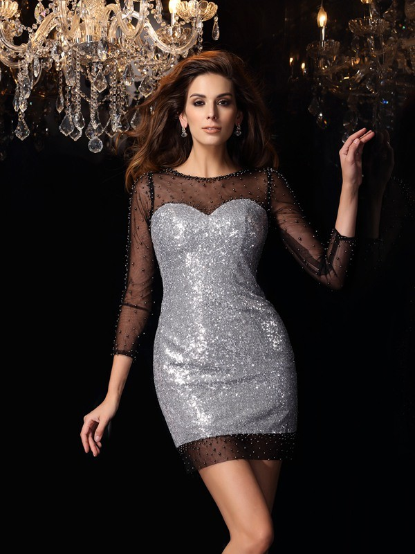Sheath/Column Scoop 3/4 Sleeves Short Sequins Cocktail Dress
