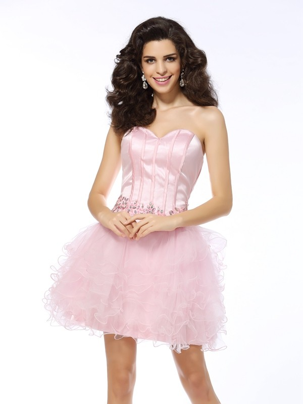 A-Line/Princess Sweetheart Short Net Cocktail Dress
