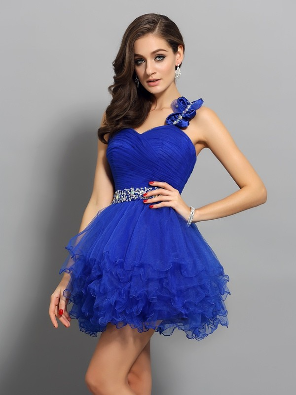 A-Line/Princess One-Shoulder Short Organza Cocktail Dress