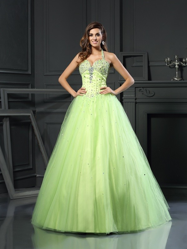 Ball Gown Halter Long Satin Quinceanera Dress