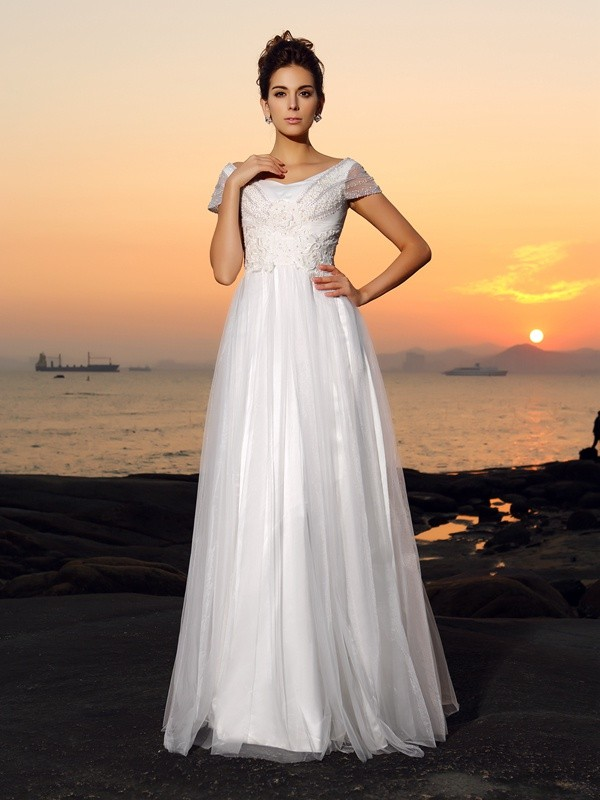 A-Line/Princess Off-the-Shoulder Short Sleeves Long Tulle Beach Wedding Dress