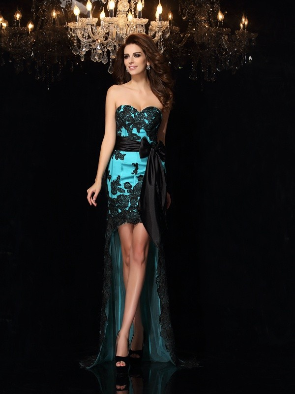 Sheath/Column Sweetheart Asymmetrical Satin Dress