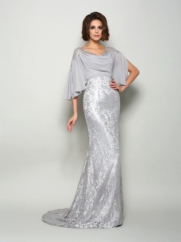 Mermaid Scoop Lace 1/2 Sleeves Long Chiffon Mother of the Bride Dress