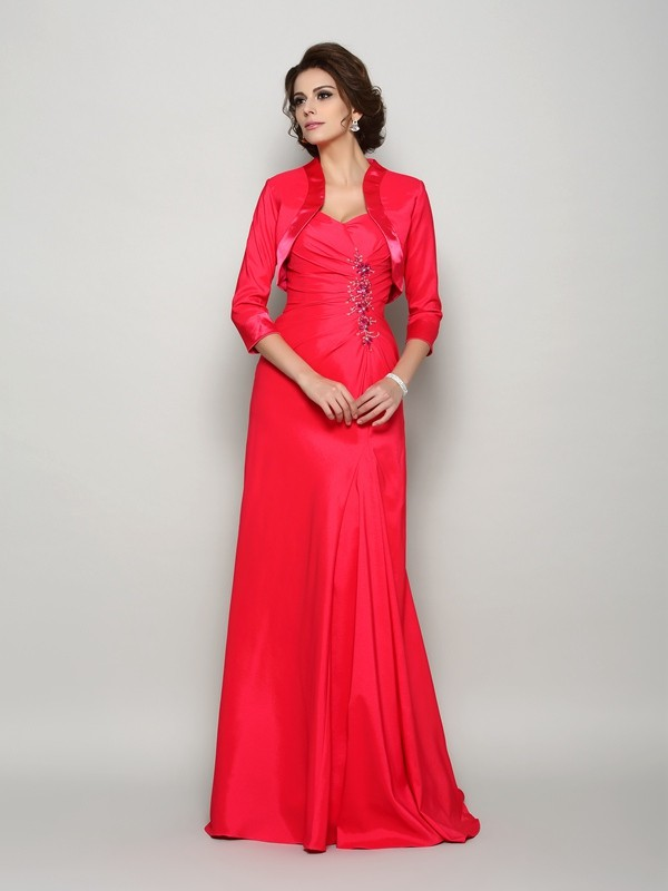 A-Line/Princess Straps Long Elastic Woven Satin Mother of the Bride Dress