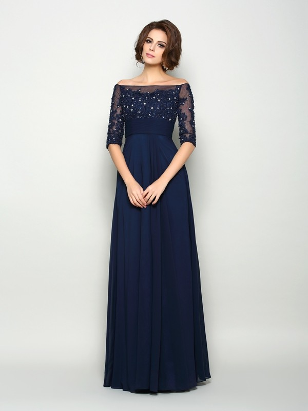 A-Line/Princess Off-the-Shoulder 1/2 Sleeves Long Chiffon Mother of the Bride Dress