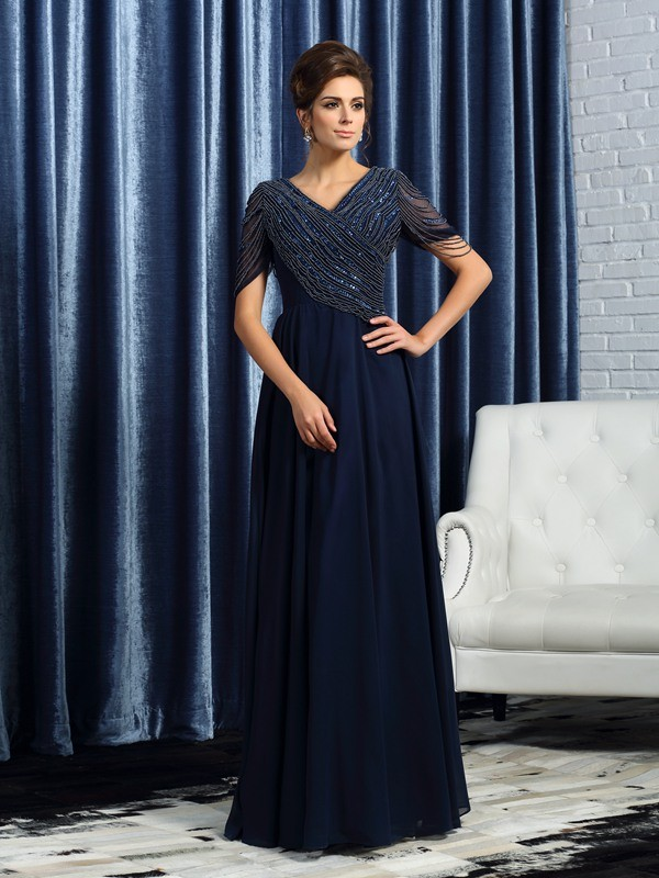 A-Line/Princess V-neck Short Sleeves Long Chiffon Mother of the Bride Dress