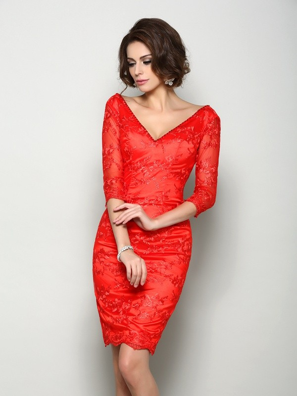 Sheath/Column V-neck Lace 1/2 Sleeves Short Lace Mother of the Bride Dress