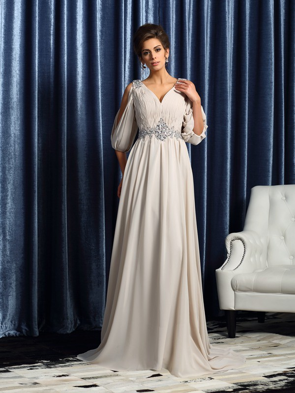 A-Line/Princess V-neck 1/2 Sleeves Long Chiffon Mother of the Bride Dress