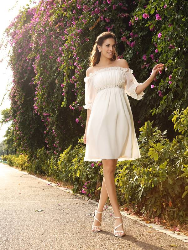 A-Line/Princess Off-the-Shoulder 1/2 Sleeves Short Chiffon Wedding Dress