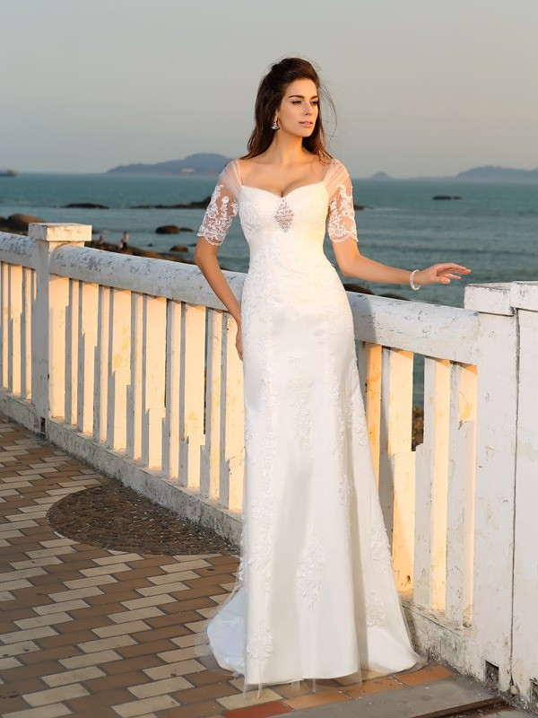 Sheath/Column Sweetheart Short Sleeves Long Satin Beach Wedding Dress