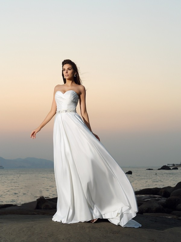 A-Line/Princess Sweetheart Long Taffeta Beach Wedding Dress
