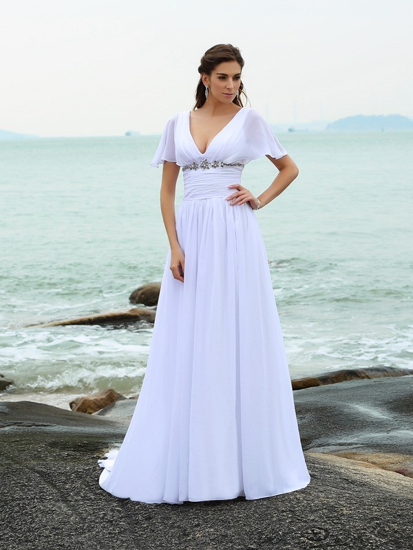 A-Line/Princess V-neck Short Sleeves Long Chiffon Beach Wedding Dress
