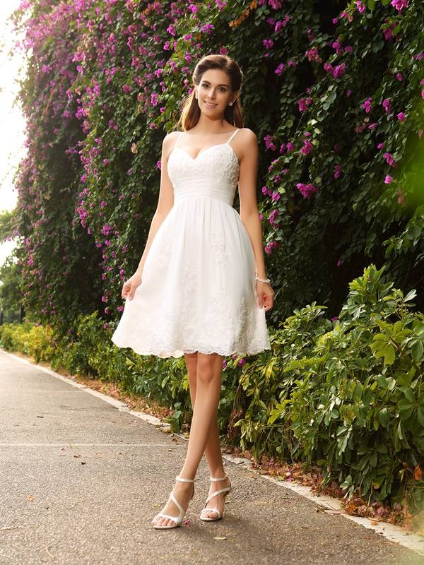 A-Line/Princess Spaghetti Straps Short Lace Wedding Dress
