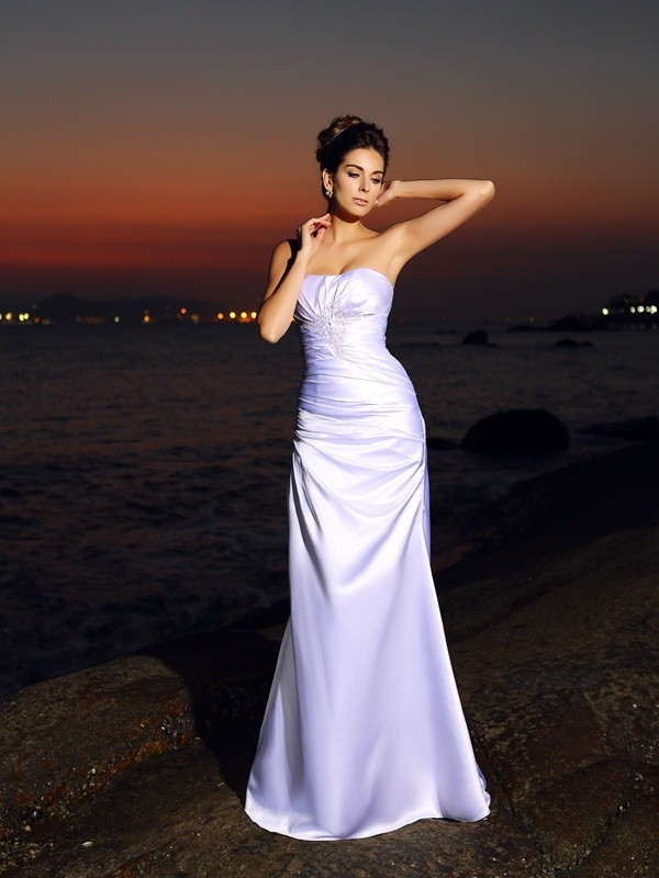 Mermaid Sweetheart Long Satin Beach Wedding Dress