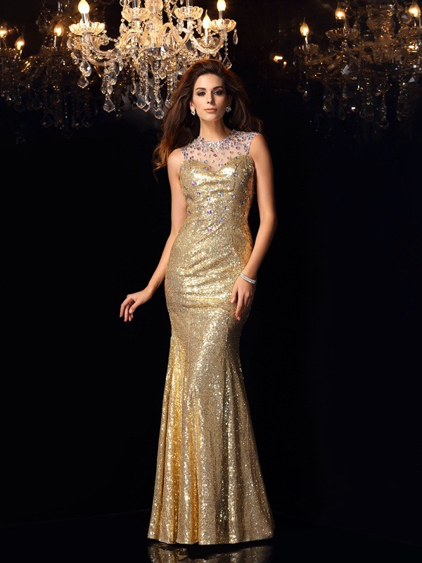 Mermaid High Neck Long Sequins Dress