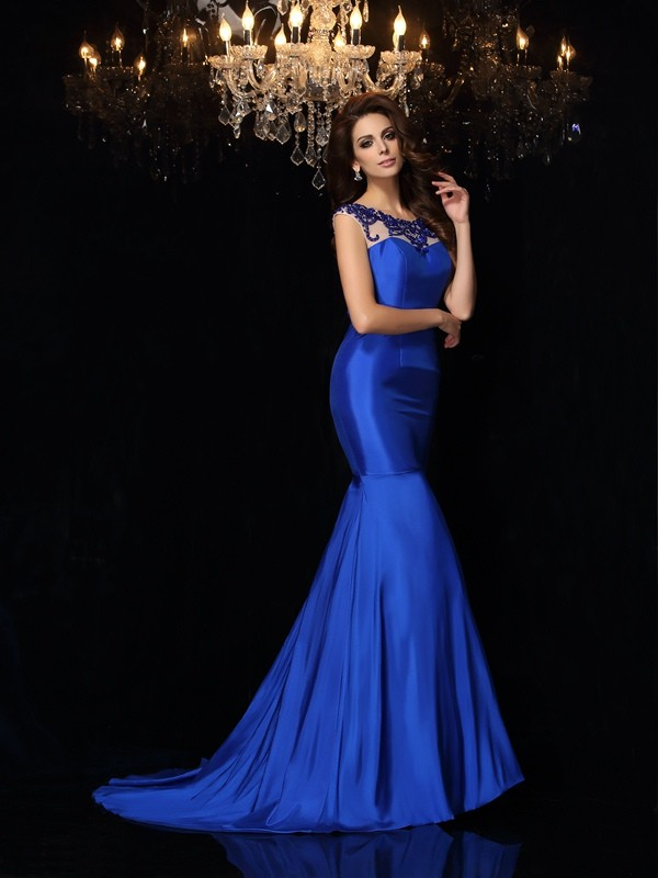 Mermaid Bateau Long Taffeta Dress