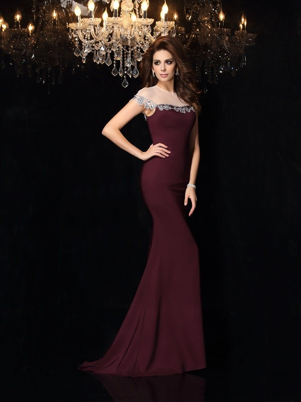 Mermaid High Neck Long Elastic Woven Satin Dress
