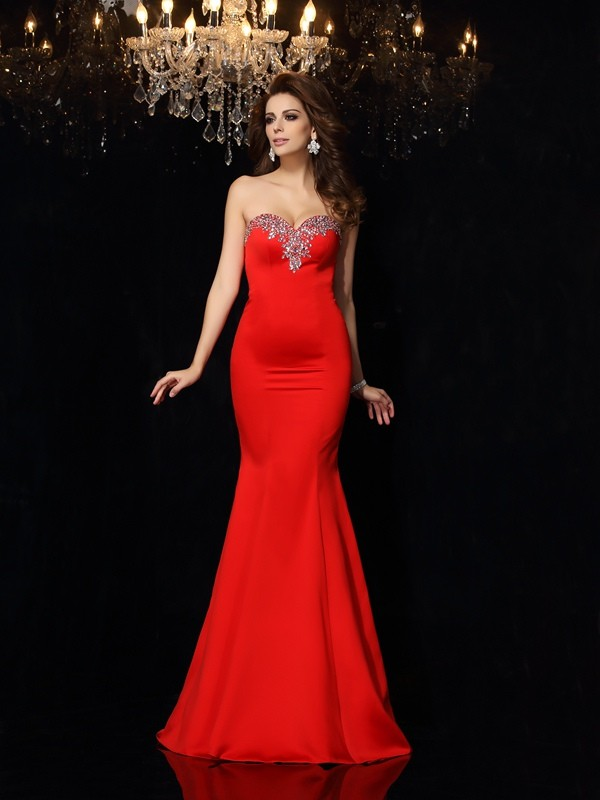 Sheath/Column Sweetheart Long Satin Dress