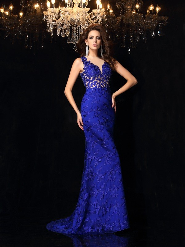 Mermaid High Neck Lace Long Satin Dress