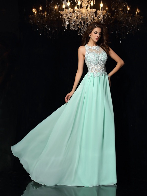 A-Line/Princess High Neck Long Chiffon Dress