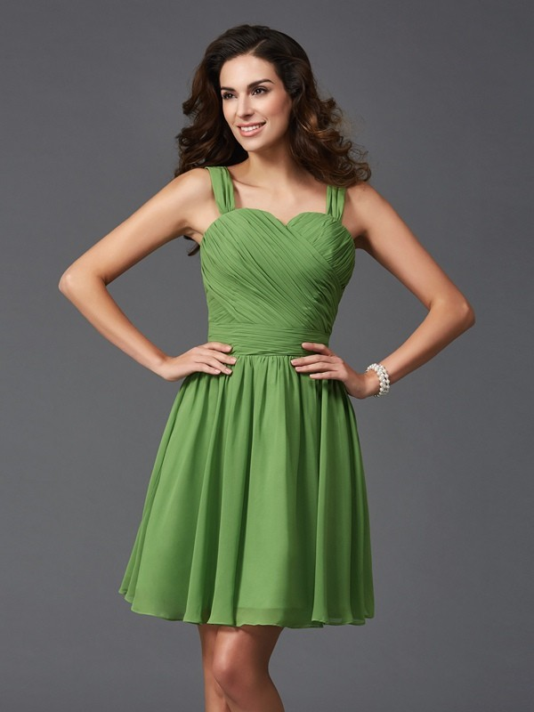 A-Line/Princess Straps Short Silk like Satin Bridesmaid Dress