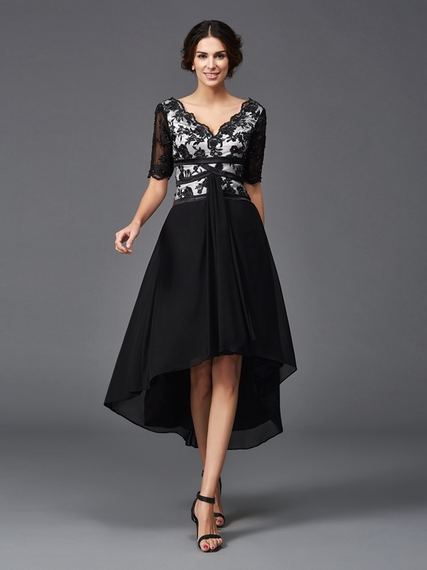 A-Line/Princess V-neck Lace 1/2 Sleeves Asymmetrical Chiffon Dress