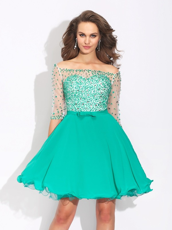 A-Line/Princess Off-the-Shoulder 1/2 Sleeves Short Chiffon Dress