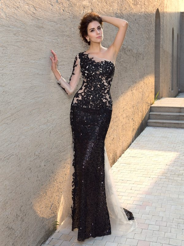 Sheath/Column One-Shoulder Sequins Long Sleeves Long Lace Dress