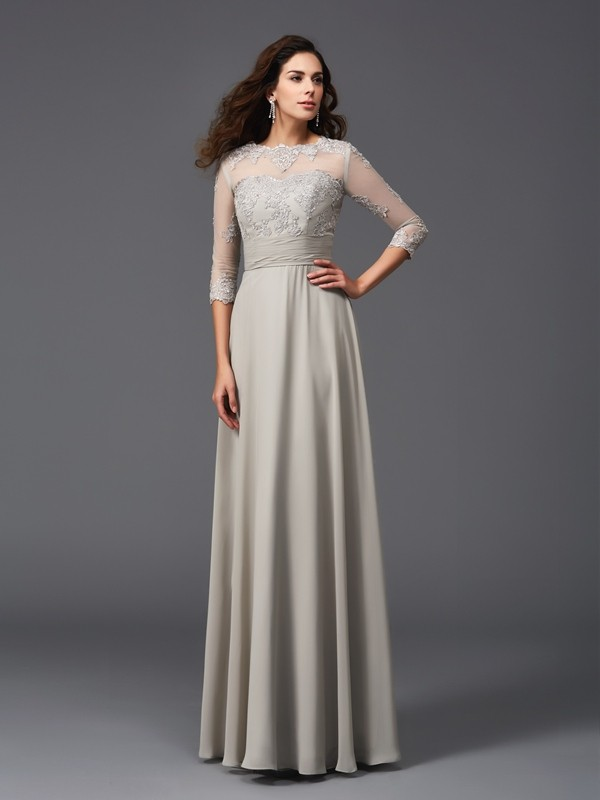 A-Line/Princess Scoop 3/4 Sleeves Long Chiffon Dress