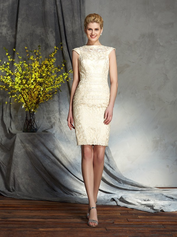Sheath/Column Bateau Short Sleeves Short Elastic Woven Satin Mother of the Bride Dress