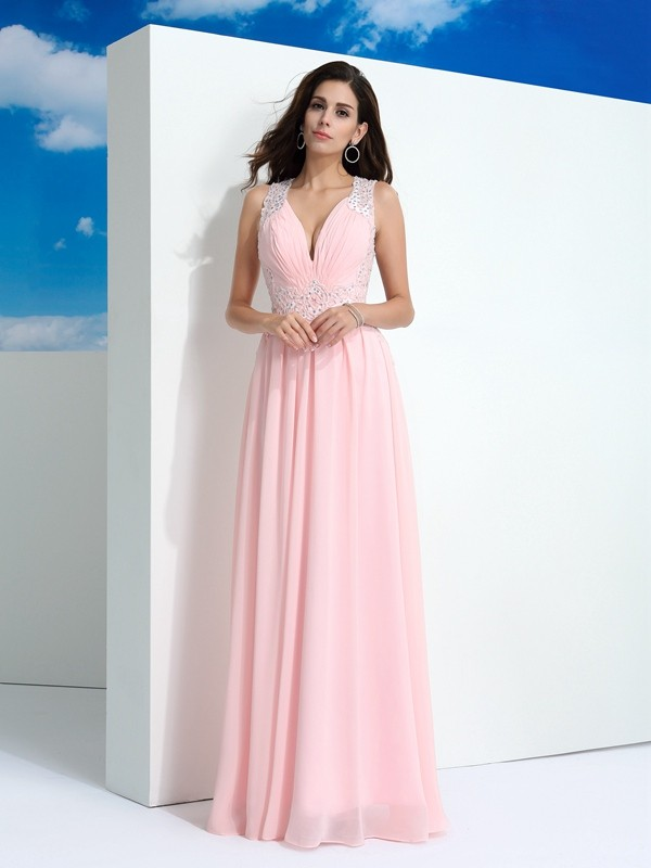A-Line/Princess Straps Long Chiffon Dress