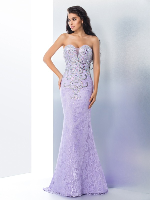 Mermaid Sweetheart Long Lace Dress