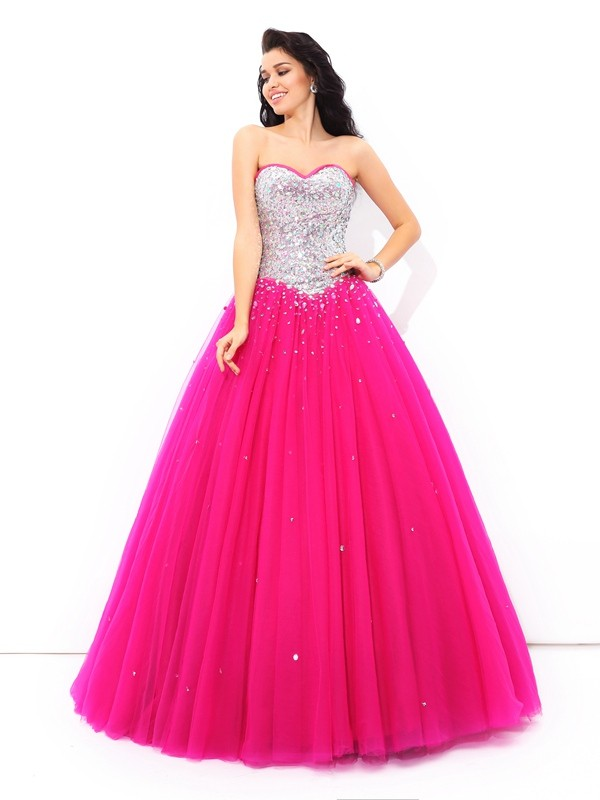 Ball Gown Sweetheart Long Satin Quinceanera Dress